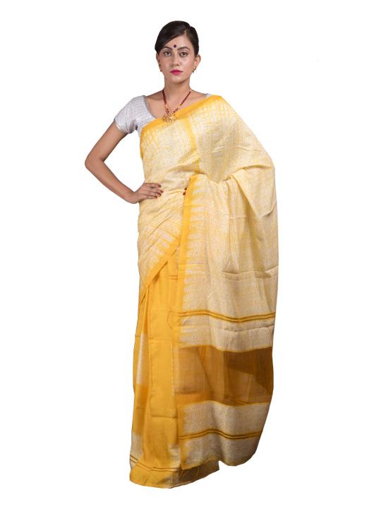 Yellow Soft Silk Mekhela Chador