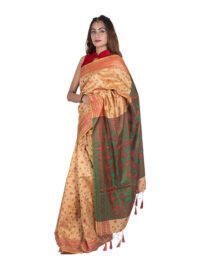 Muga with Green and Red Silk Saree