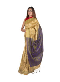 Muga and Greenish Purple Silk Saree
