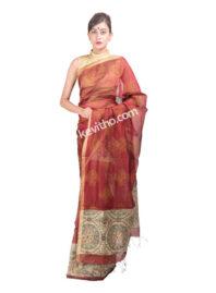 Copper Colour Block Print Mekhela Chadar