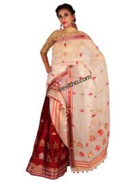 Maroon and White Contrast Silk Mekhela Chador
