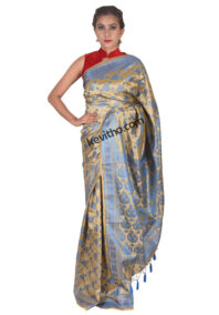 Bright Blue and Muga Khadi Silk Saree