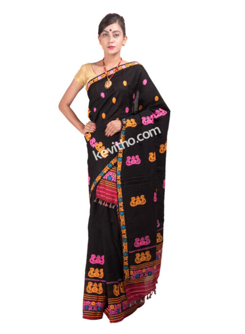 Black Multicolour threadwork Mekhela Chador