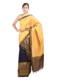 Yellow and Blue Brocade Mekhela Chador